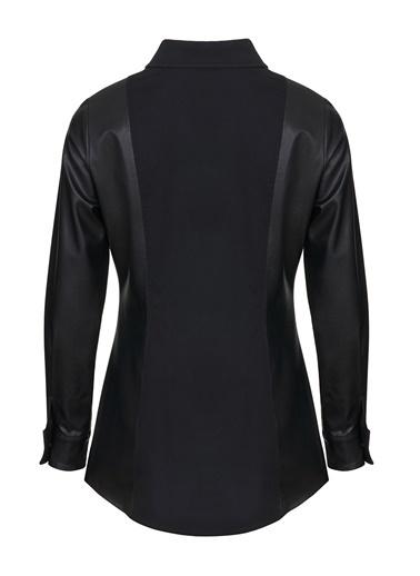 Nocturne Deri Detaylı Gömlek Siyah
